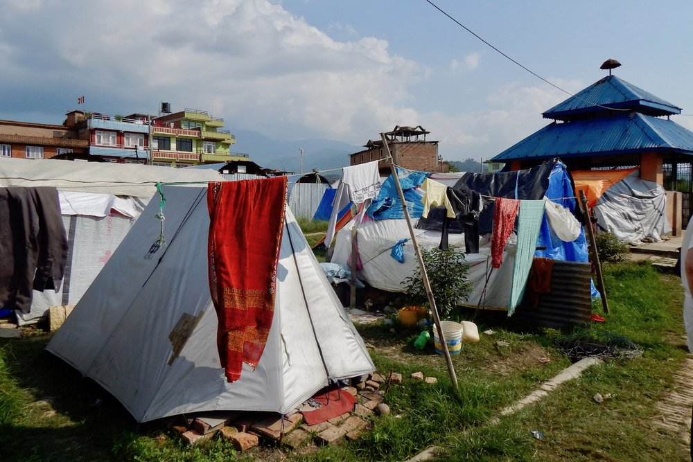 Temporary shelters in Harisiddhi, Nepal, September 2015.