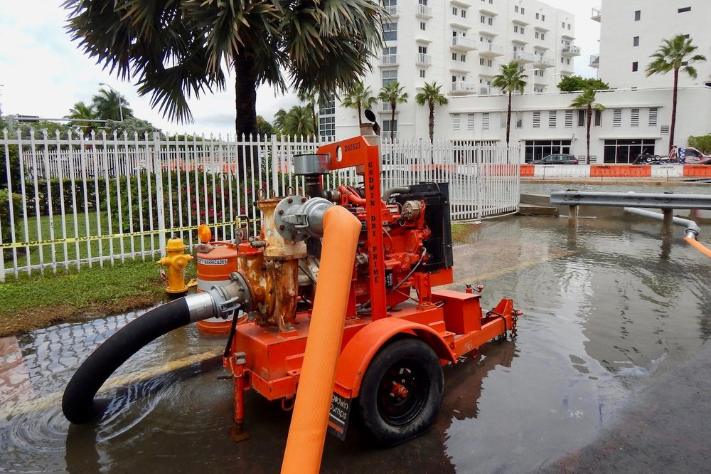 A pump combatting street flooding in Miami Beach, Florida, 2017.