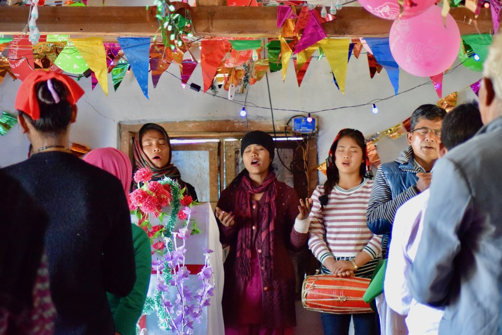 Worshippers at a small church in Gorkha, December 2016.