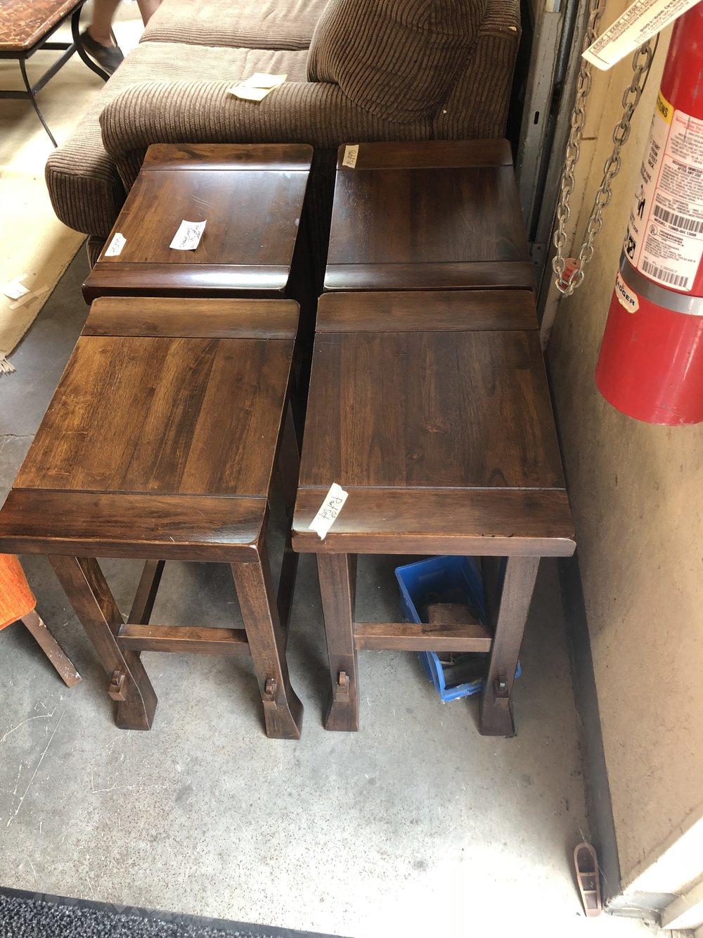 We found some barstools for our kitchen bar AND they work as end tables!