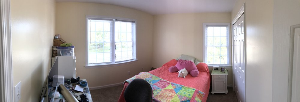 This was the finished product after I painted the 2nd bedroom. There's now a cube bookshelf in the corner too.