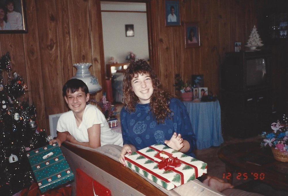 Sam and I, ages 15 and 13, respectively, on Christmas day at mom's house in South Florida in 1990.
