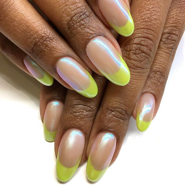 Day two of French mani posts. Stepped this one up with some subtle bluish chrome on top 🎾Double tap if you would 110% wear these... I just liked my own pic. 🤫