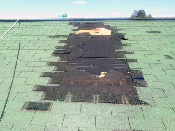 roof damage to residential home