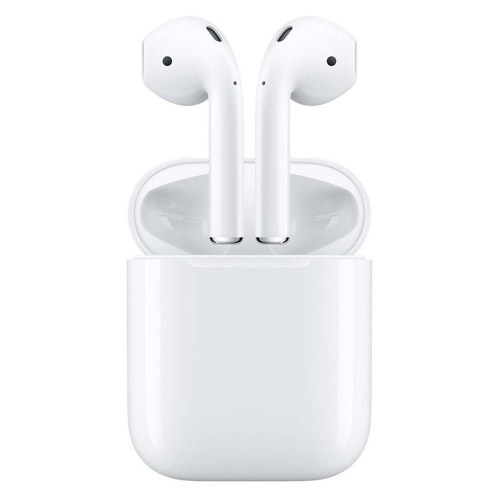 Product Information  Overview  Wireless. Effortless. Magical.  AirPods will forever change the way you use headphones. Whenever you pull your AirPods out of the charging case, they instantly turn on and connect to your iPhone, Apple Watch, iPad, or Mac.(1) Audio automatically plays as soon as you put them in your ears and pauses when you take them out. To adjust the volume, change the song, make a call, or even get directions, just double-tap to activate Siri.  Driven by the custom Apple W1 chip, AirPods use optical sensors and a motion accelerometer to detect when they're in your ears. Whether you're using both AirPods or just one, the W1 chip automatically routes the audio and engages the microphone. And when you're on a call or talking to Siri, an additional accelerometer works with beamforming microphones to filter out background noise and focus on the sound of your voice. Because the ultralow-power W1 chip manages battery life so well, AirPods deliver an industry-leading 5 hours of listening time on one charge.(2) And they're made to keep up with you, thanks to a charging case that holds multiple additional charges for more than 24 hours of listening time.(3) Need a quick charge? Just 15 minutes in the case gives you 3 hours of listening time.(4)  Highlights  Designed by Apple  Automatically on, automatically connected  One-tap setup for all your Apple devices(1)  Quick access to Siri with a double-tap  More than 24-hour battery life with Charging Case(3)  Charges quickly in the case  Rich, high-quality audio and voice  Seamless switching between devices  Tech Specs  Bluetooth  Wireless  Weight  AirPods (each): 0.14 ounces (4 g)  Charging Case: 1.34 ounces (38 g)  Dimensions  AirPods (each): 0.65 by 0.71 by 1.59 inches (16.5 by 18.0 by 40.5 mm)  Charging Case: 1.74 by 0.84 by 2.11 inches (44.3 by 21.3 by 53.5 mm)  Connections  AirPods: Bluetooth  Charging Case: Lightning connector  AirPods Sensors (each):  Dual beam-forming microphones  Dual optical sensors  Motion-detecting accelerometer  Speech-detecting accelerometer  Power and Battery  AirPods with Charging Case: More than 24 hours listening time,(3) up to 11 hours talk time(6)  AirPods (single charge): Up to 5 hours listening time,(2) Up to 2 hours talk time(5)  15 minutes in the case equals 3 hours listening time(4) or over an hour of talk time(7)  System Requirements  iPhone, iPad and iPod touch models with iOS 10 or later  Apple Watch models with watchOS 3 or later  Mac models with macOS Sierra or later