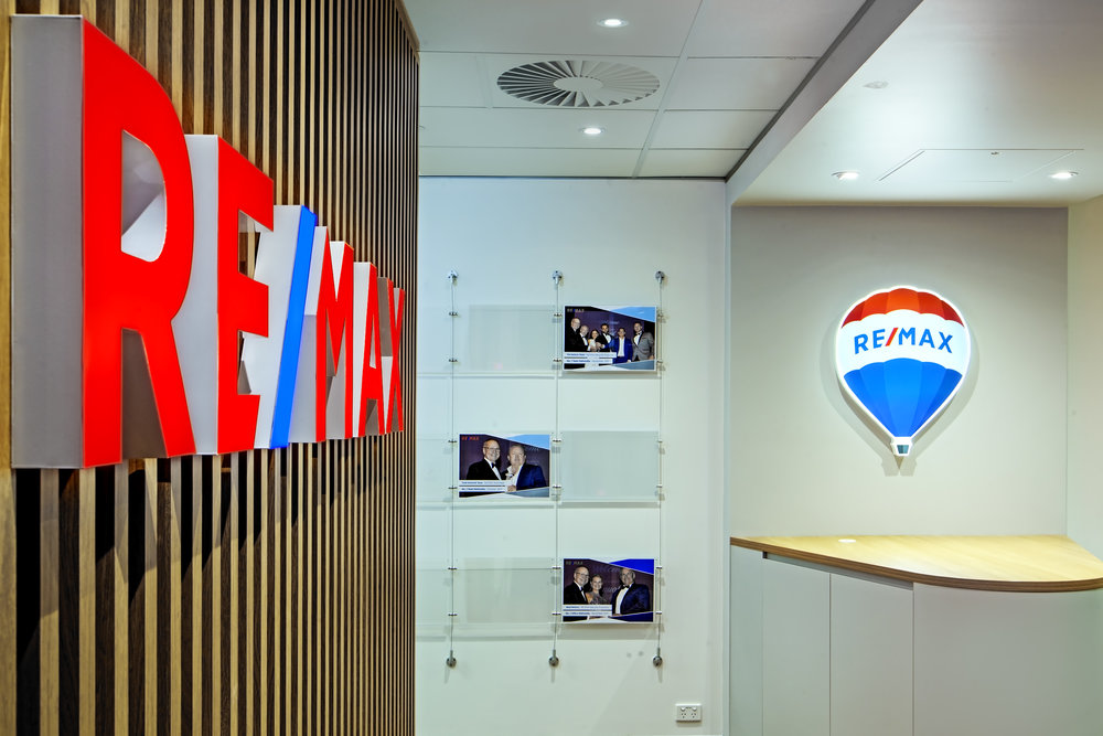 Resin filled 3D lettering at Remax head office, Milton.