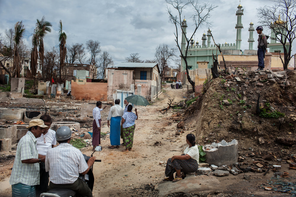June 12, 2013 - Meiktila, Myanmar. One of the areas of the city destroyed during the violent clashes that erupted between Buddhist and Muslim ethnic groups which took place on March 20, 2013. At least 40 people lost their lives during the 3 days of conflict. © Nicolas Axelrod / Ruom