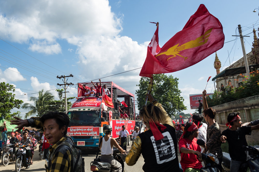 Nov. 03, 2015 - Meiktila, Myanmar. NLD supporters during a rally. © Nicolas Axelrod / Ruom