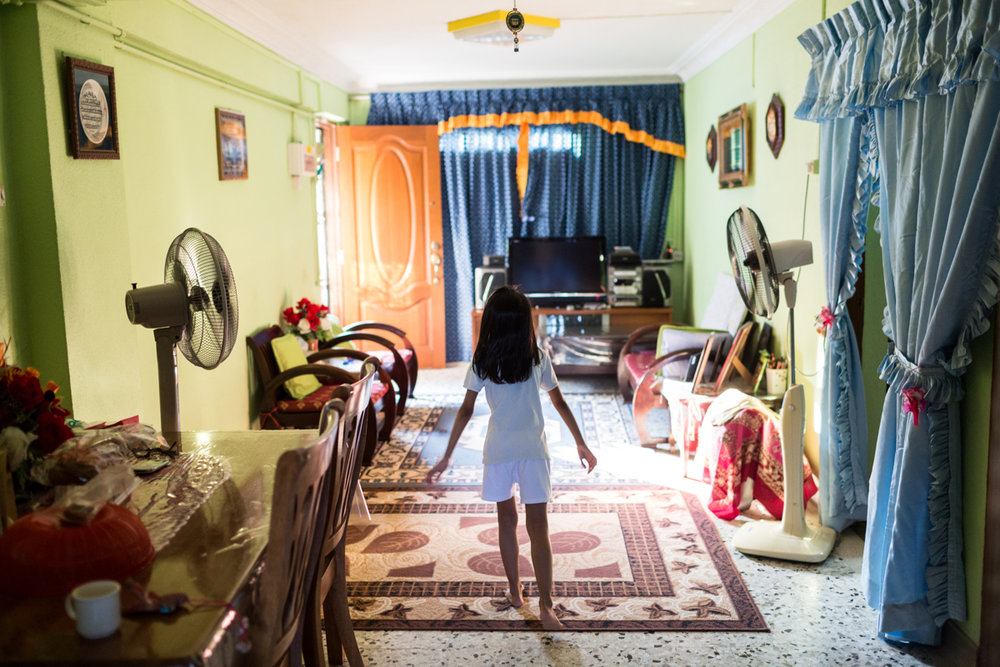March 14, 2014 - Singapore. Tutik (not pictured) at the home of her employers grand-parents with Izzati (7). Nicolas Axelrod / Ruom