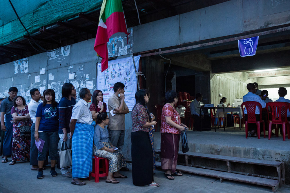 Nov. 08, 2015 - Yangon, Myanmar. Election day. © Nicolas Axelrod / Ruom