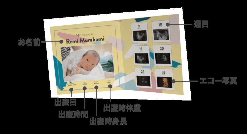 表紙写真×1、週目を含むエコー写真×6、名前(英)、出産日、出産時間、出産時の身長、出産時の体重をご入力頂きます。