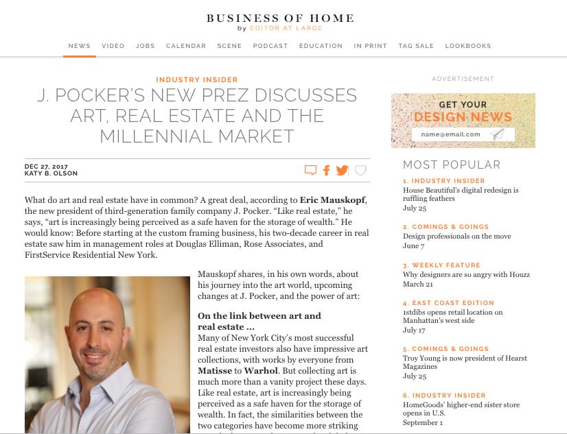 J. POCKER'S NEW PREZ DISCUSSES ART, REAL ESTATE AND THE MILLENNIAL MARKET