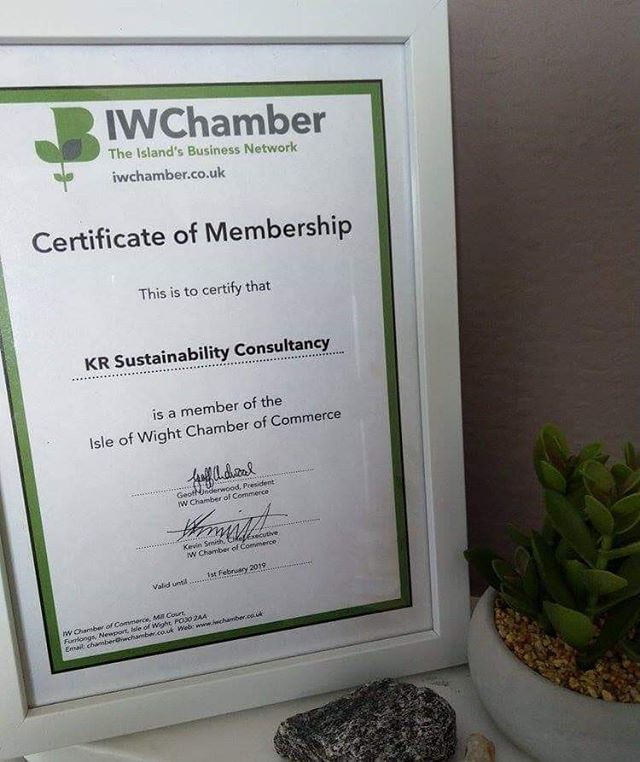 KR Sustainability Consultancy has been a proud member of the Isle of Wight Chamber of Commerce since February 2018.  The Isle of Wight Chamber of Commerce is an amazing network of big and small businesses who support each other in this little place we call home.  Helping business start-ups become a reality, promoting green business, and hundreds of networking opportunities and events to choose from throughout the year, it's well worth joining the Chamber.  In addition to being a part of this friendly community, the Chamber can help your business with legal protection, exclusive member savings, promotion for your business, on hand support and much much more.  For more information on joining the Chamber please click here: https://www.iwchamber.co.uk