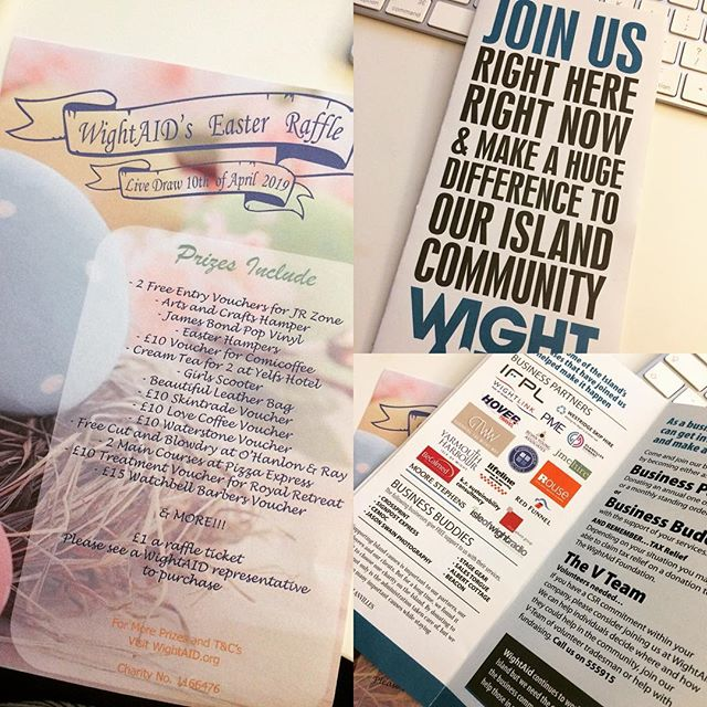 Proud to be listed as a @wightaid business partner. Such a great cause! I'll be selling Easter Raffle tickets at my office. Some great prizes!! £1 each! Come and grab them @ 2a St Thomas's Square in Newport, Office 3! #wightaid