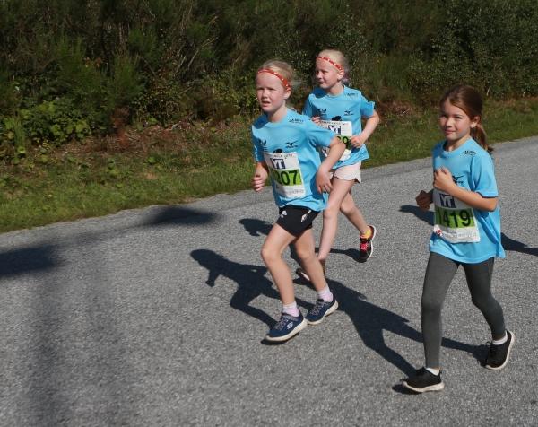 Knarvikmila 5km har nedre aldersgrense 10 år. Celina Dale(1419) , Malene Landreo og Astrid Sjursen(1209) på 5km i 2017
