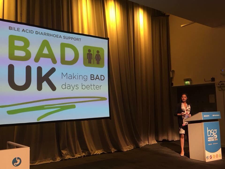BAD UK @ BSG - Dr Nidhi Sagar acknowledging BAD UK at a presentation to the British Society of Gastroenterology