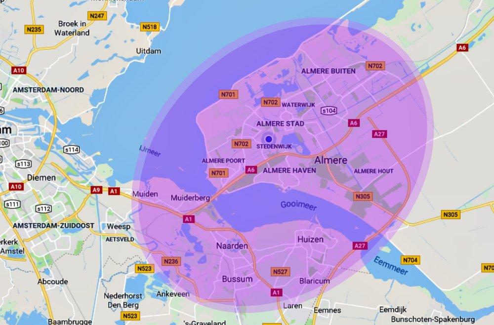 Werkgebied - Ik bied mijn diensten aan in de omgeving van Almere en 't Gooi. Mocht u buiten dit gebied vallen en toch gebruik willen maken van mijn diensten, neem dan even contact op. Misschien kan ik toch iets voor u betekenen tegen een aangepast tarief.