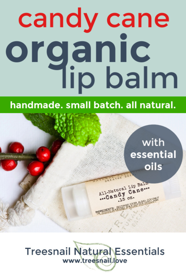 Candy Cane Organic Lip Balm with Essential Oils for the Green Beauty Lover by Treesnail Natural Essentials.jpg