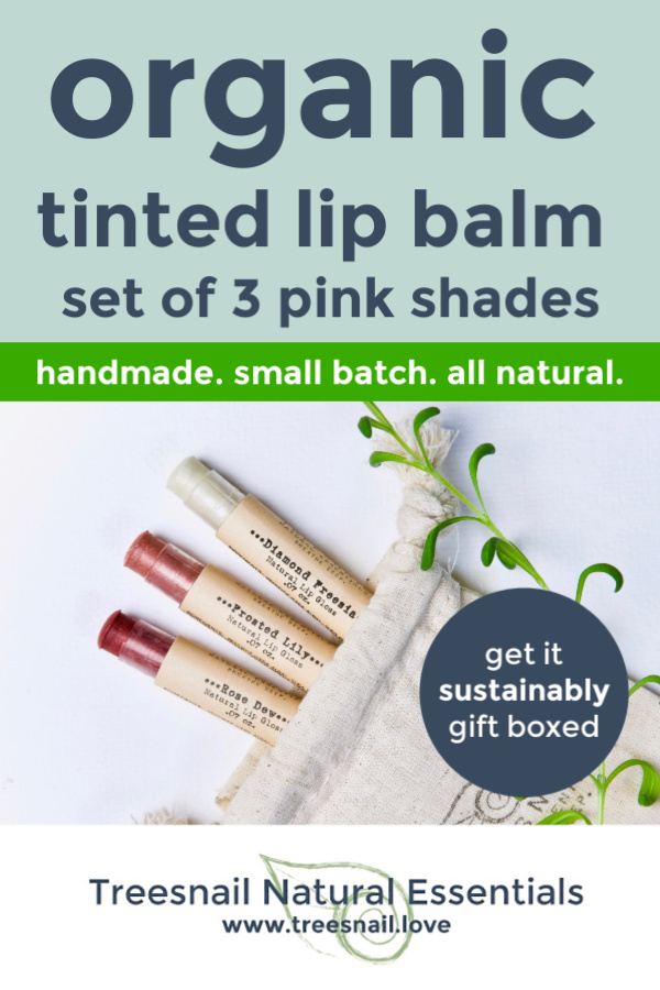 Pink Tinted Organic Lip Balm Set of 3 with Essential Oils for the Green Beauty Lover by Treesnail Natural Essentials.jpg