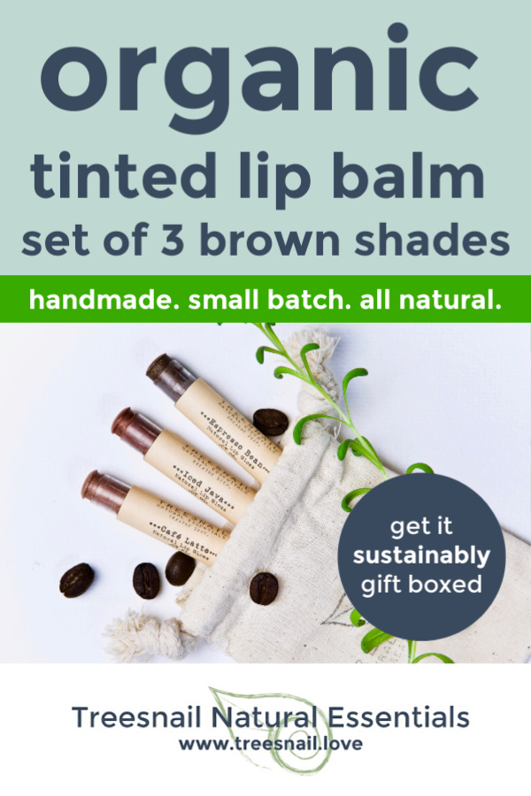 Brown Tinted Organic Lip Balm Set of 3 with Essential Oils for the Green Beauty Lover by Treesnail Natural Essentials.jpg