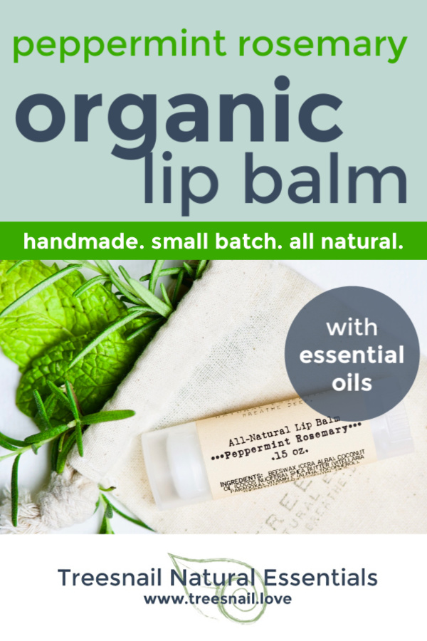Our most popular organic lip balm (who doesn't love that little bit of minty tingle upon application??) made with pure essential oils.  Click through to see all 24 insanely awesome scents we make by hand: www.treesnail.love #organiclipbalm #essentialoils #greenbeauty #treesnail
