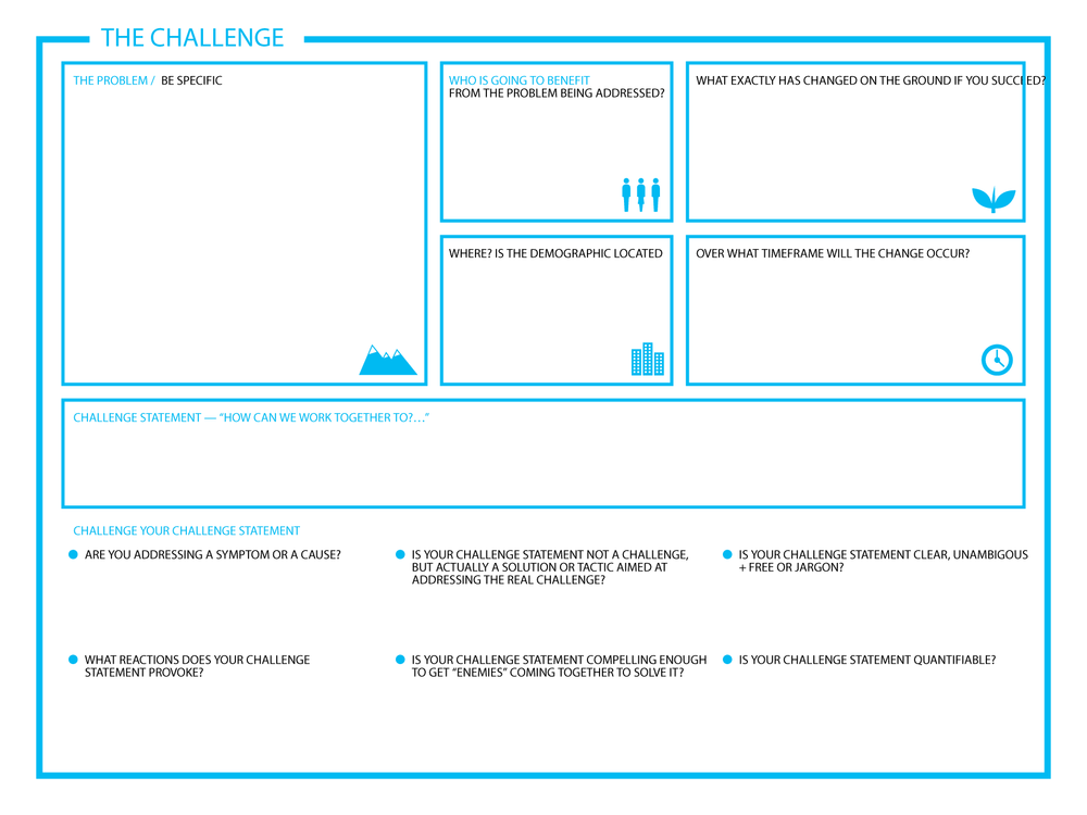 Challenge statement canvas as proposed by Roller Strategies.
