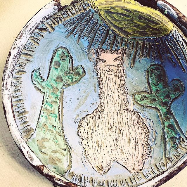 And today in the junior high #artclass #sgraffito #handbuiltpottery #llama #catcus #ceramics