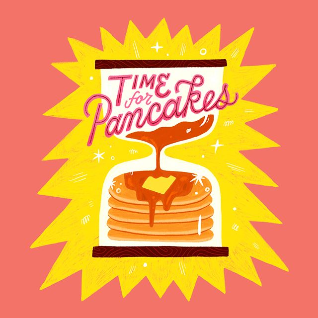 At brunch I was like hey I haven't had pancakes in forever, maybe I'll get some. Then I ordered the tofu scramble instead. Now I've been thinking about pancakes 🥞 and it's about time to get some. So I made this! Also, one of my student taught me how to change colors in Procreate so I wanted to do an iPad drawing to try it out. Is it just me who couldn't figure out how to change color and too lazy to look it up? Oh well!! #procreate #pancakes