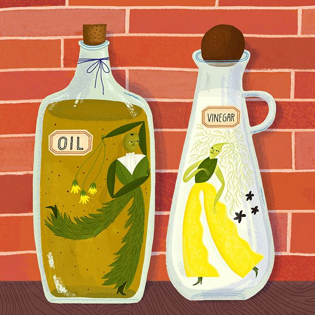 I recently made this illustration for @tenpacesanddraw where you create a final piece based on someone else's sketch. I was lucky to work from @mrtomfroese sketch and this fun idea. I decided to make the characters based on herbal infused oil recipes. You should follow (or sign up) @tenpacesanddraw to see all the fun illo swaps!