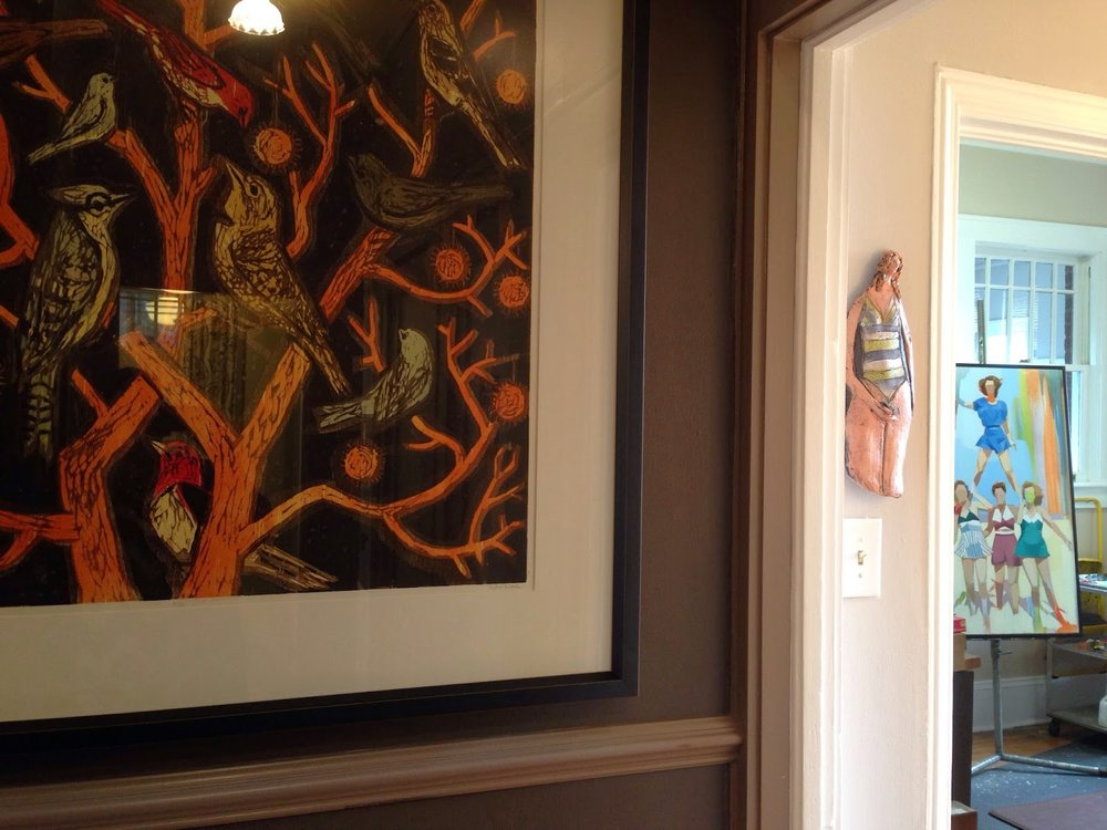 Kent Ambler's 'Tree of Life' woodblock print, a tiny Linda Lewis sculpture (we have 8!), and a peek into my studio.