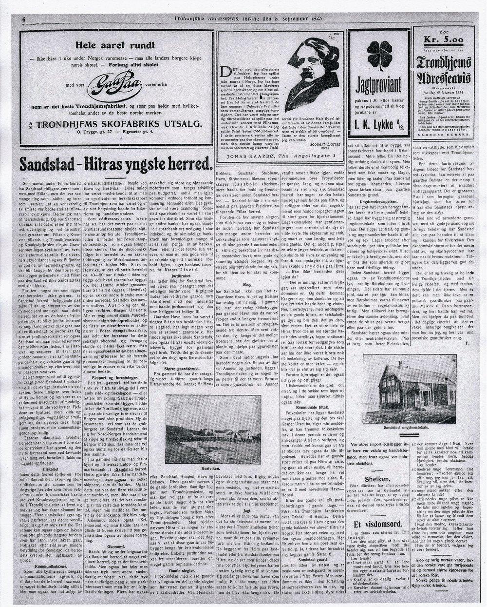 Dette er avissiden fra 8. september 1923 i Trondhjems Adresseavis. Artikkelen har foto fra Hestvika og et av ungdomshuset Solhaug slik det da så ut.