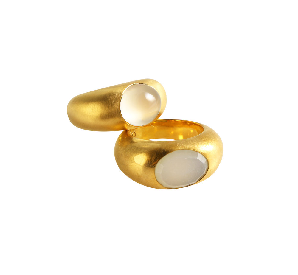 moon rings set with moonstones