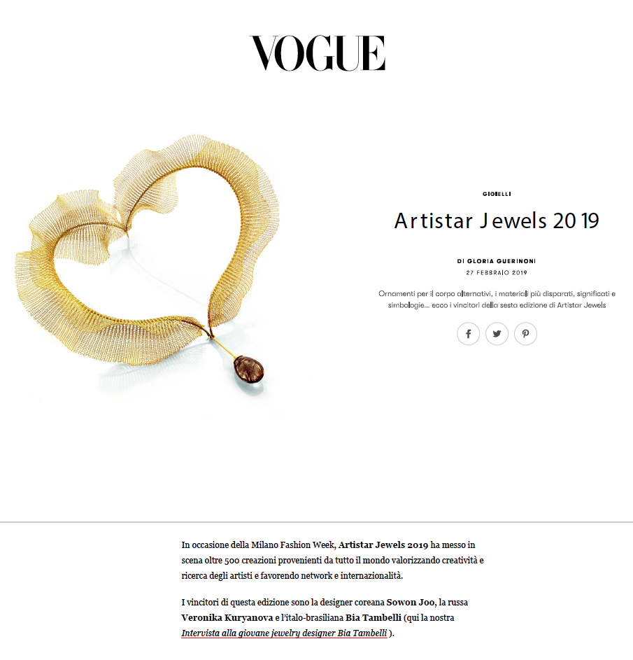 VOGUE MAGAZINE - ARTISTAR JEWELS EXHIBITION 2019