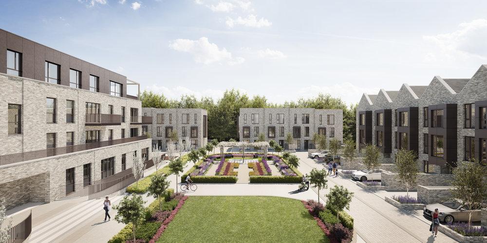 Wells Park Place Crest Nicholson courtyard CGI