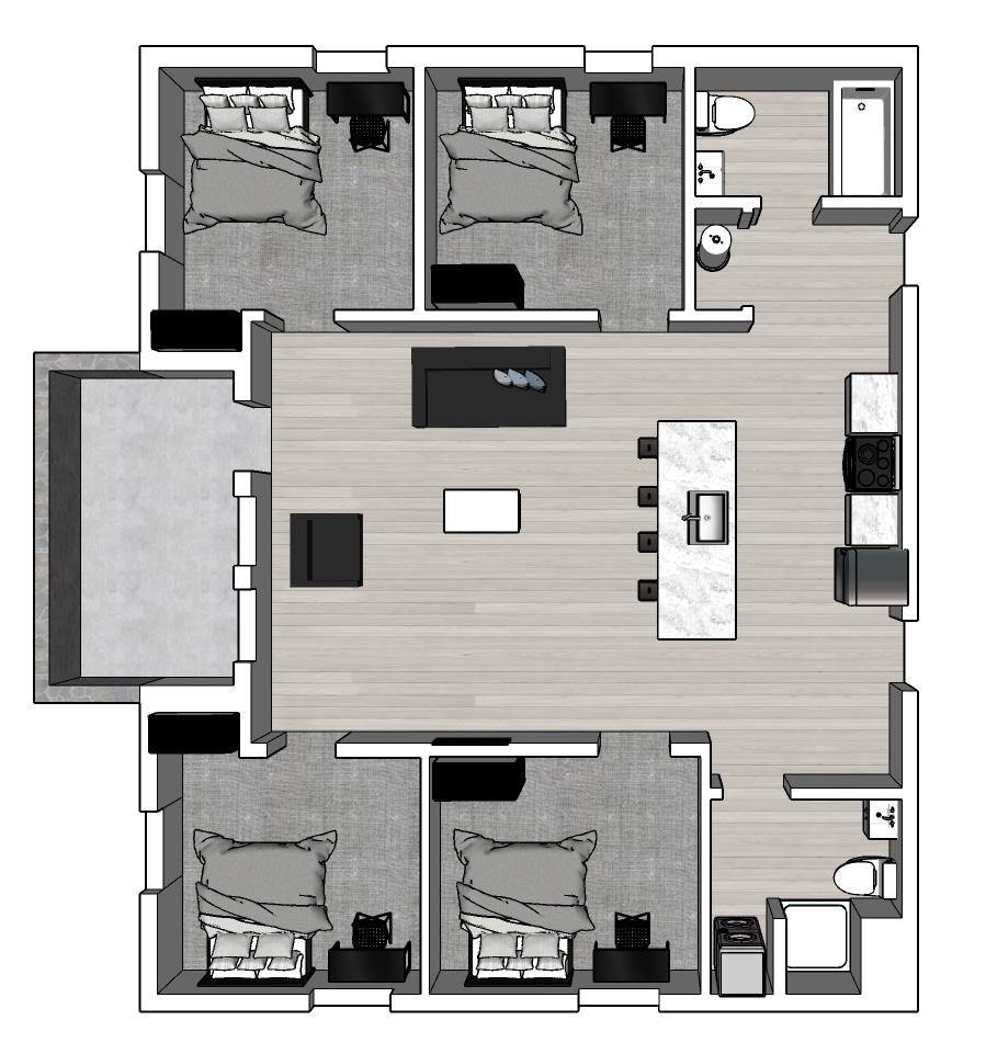 4 bed: Ground Floor