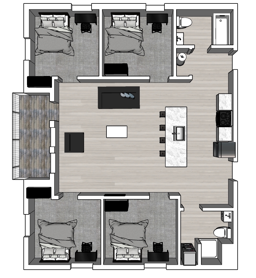 4 bed: 1st to 4th Floor