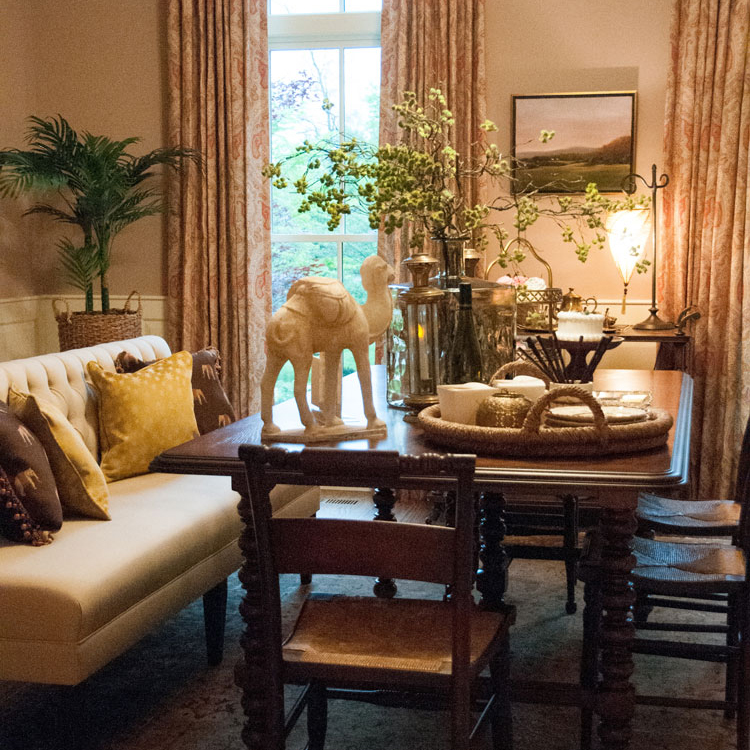 eastmeets west - Traditional design travels to exotic lands. Tour this eclectic dining room from the Shelter for Help in Emergency's 2016 Design House.