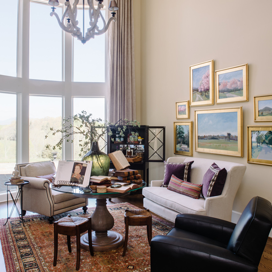 Life imitating art - This salon style living room takes its inspiration from the lush Virginia countryside for the Shelter for Help in Emergency's 2015 Design House.