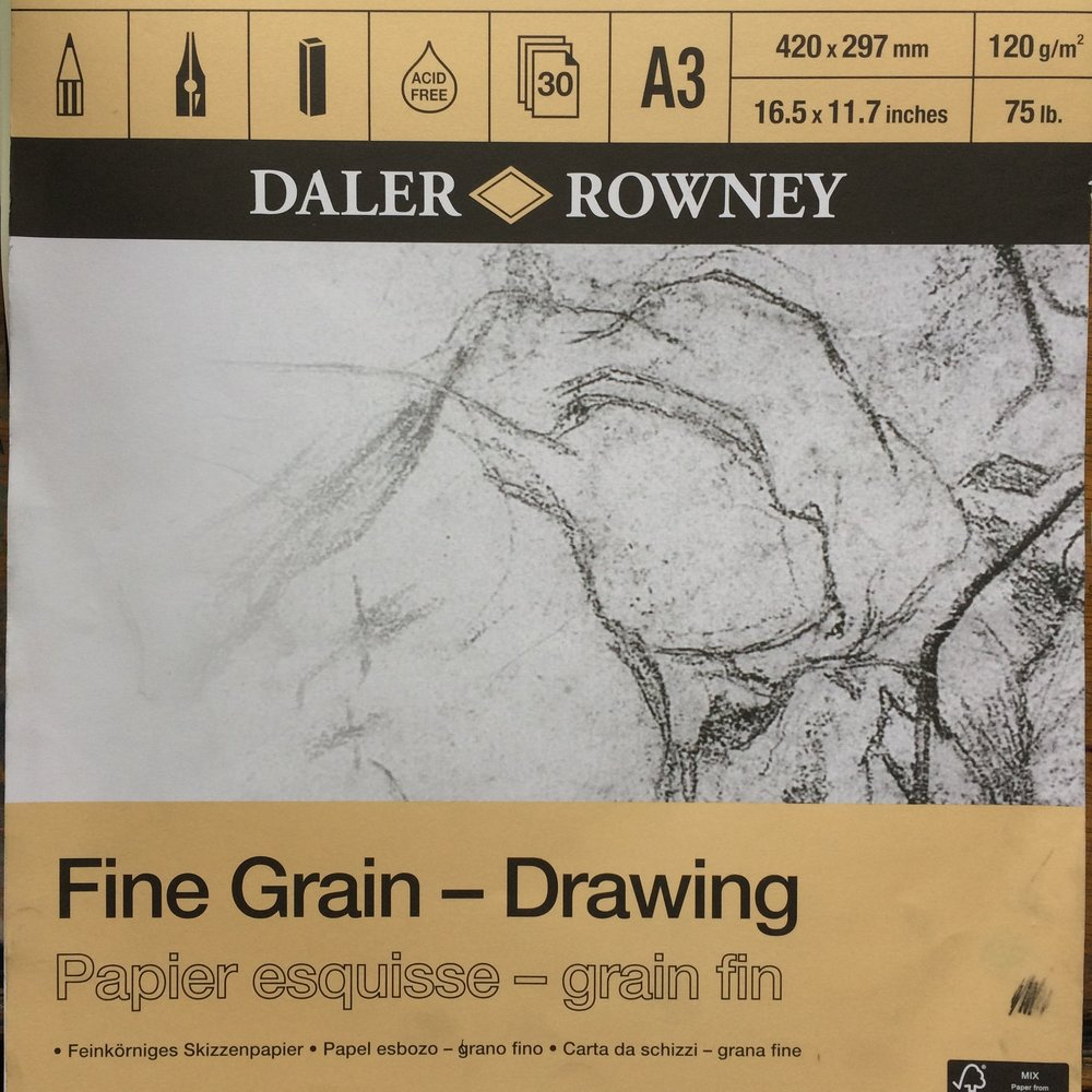 I like this paper - Daler Rowney fine grain drawing paper. A3 so you can work big enough. Even bigger is even better!