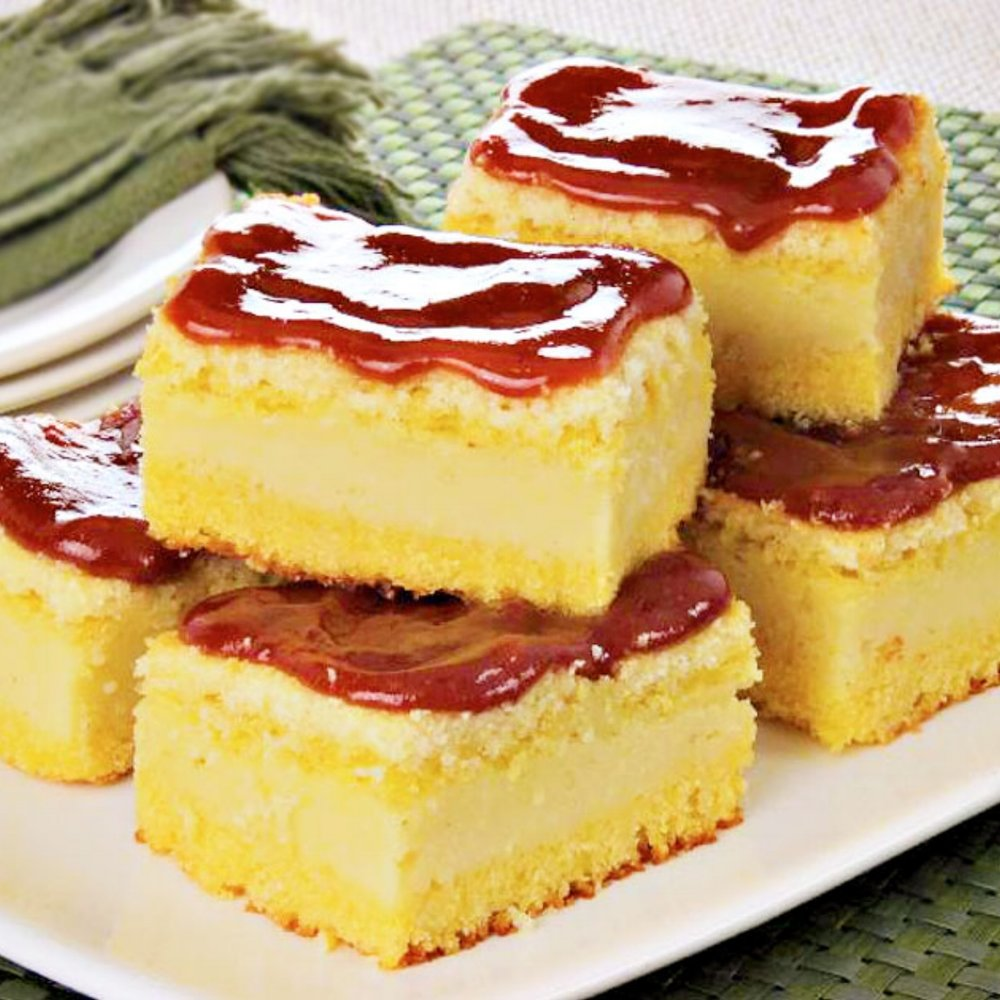 Brazilian Cornmeal Cake - Our version of cornmeal cake topped with a variety of sauces and fillings.