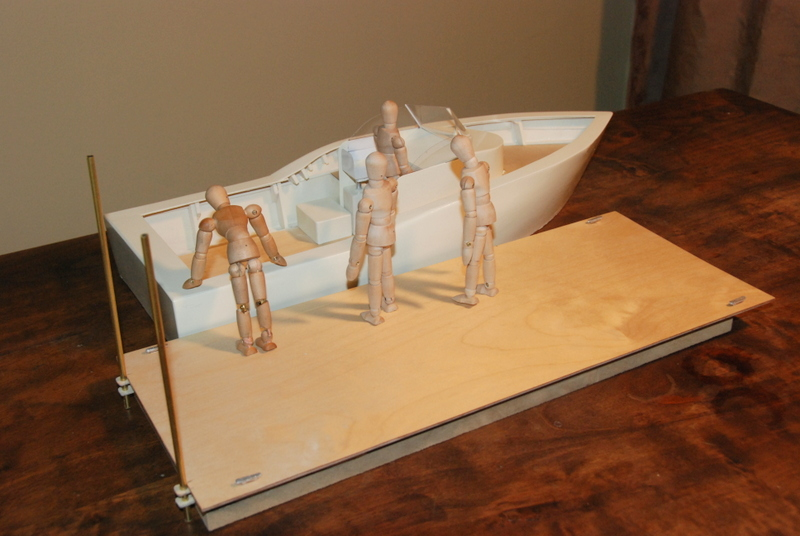 Here's a scale model of a 23' Grady White that I built to help defend in a personal injury suit. The exhibit illustrated that the accident could not have occurred as the plaintiff claimed.