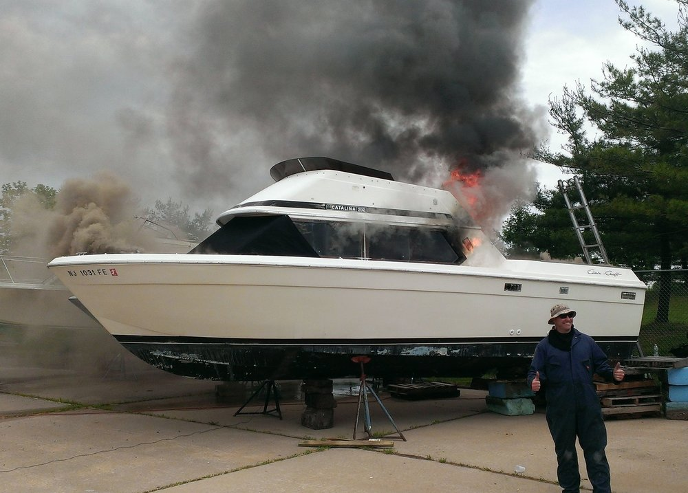 This photo was taken from a marine fire/arson investigation seminar I helped conduct in NJ. We used salvage boats to stage various scenarios involving a mix of accidental and incendiary fires. The attendees were given clues and let loose to root through the debris.