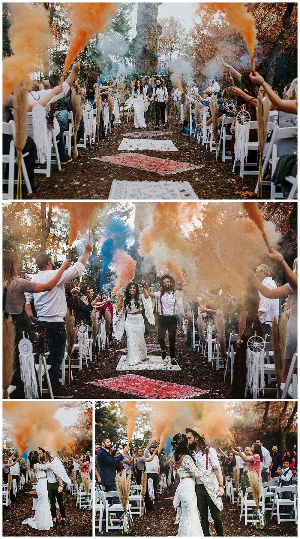 Boho Texas Wedding Photography with Smoke Bomb Exit