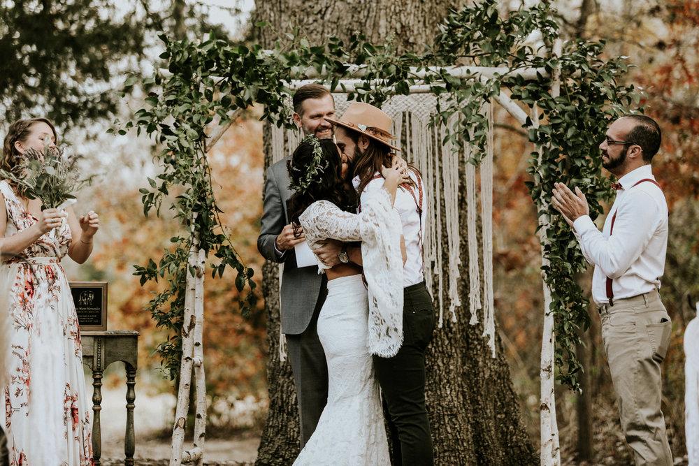 first-kiss-bohemian-texas-wedding-photographer