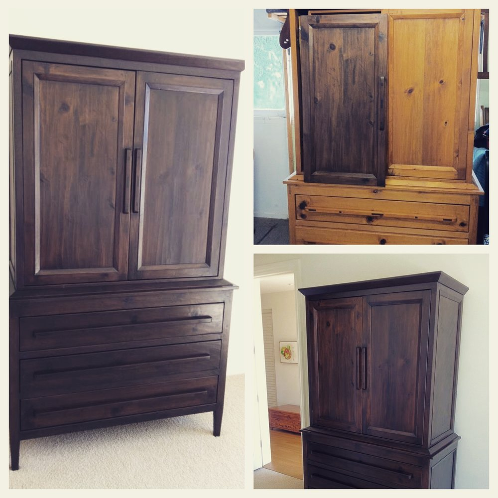 This pine armoire was completely stripped and refinished with a rich espresso stain, giving it a wonderful modern look.