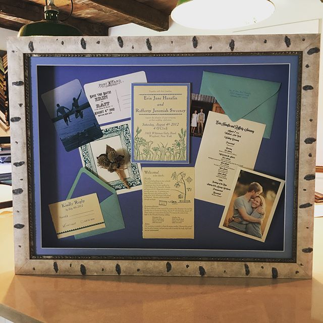 We just celebrated our 6th anniversary last week and what better way to commemorate it than a wedding shadow box!  All of those little wedding 'things' in one beautiful display 🎉 ❤️🖼 #littlelakesframing #pictureframing #custompictureframing #framing #upstatenywedding #rocwedding #weddingdisplay #geneseo #geneseony #smallbusiness