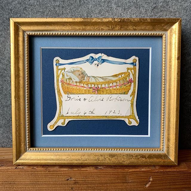 Do you have family treasures just hanging around? Frame them! Here is a sweet birth announcement for my grandma and her twin sister from 1923. So special! #frameyourmemories #pictureframing #framing #customframing #custompictureframing #geneseo #smallbusiness #littlelakesframing
