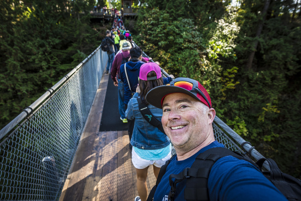 Walking back across Capilano Bridge