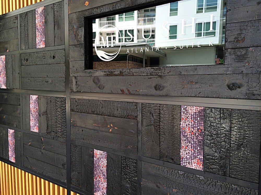 MF Sushi Eutree Shou Sugi Ban Charred Dark Wood Paneling Feature Accent Wall