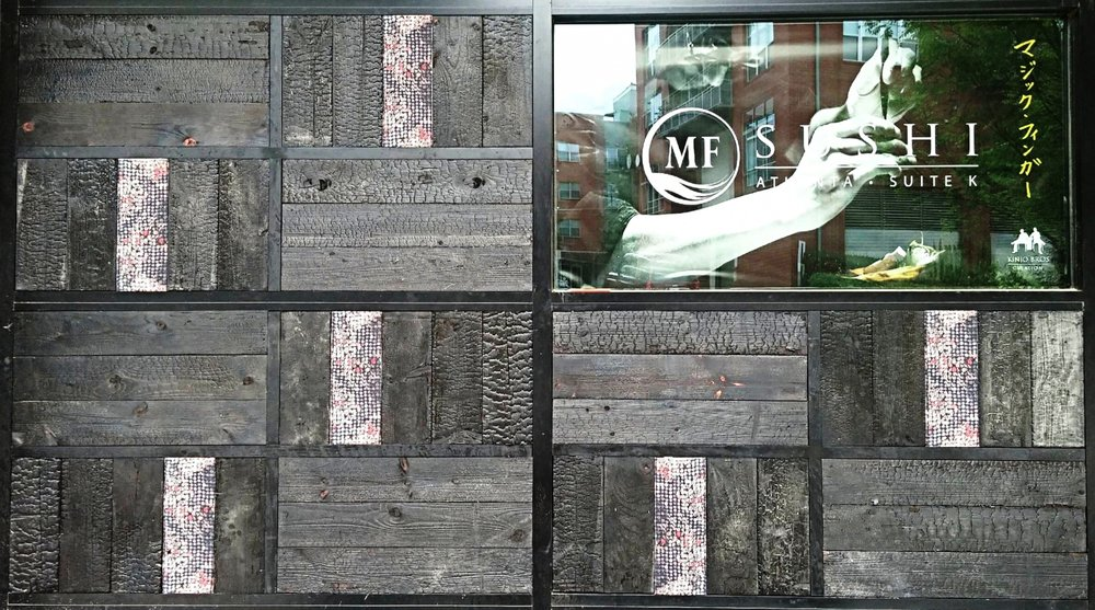 MF Sushi Eutree Shou Sugi Ban Charred Dark Wood Paneling Feature Accent Wall